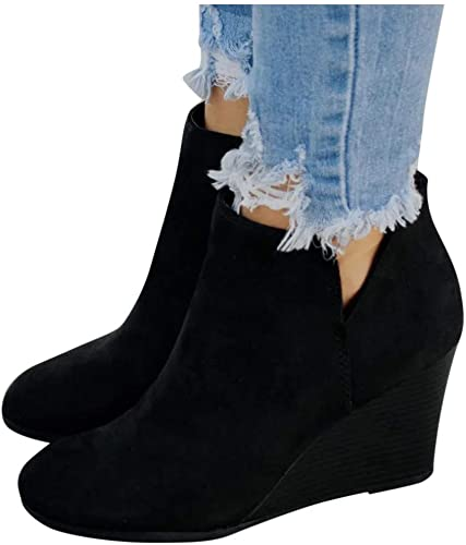 Amazon.com |  Dam Wedge Boots, Women's Low Wedge Ankle Boots.