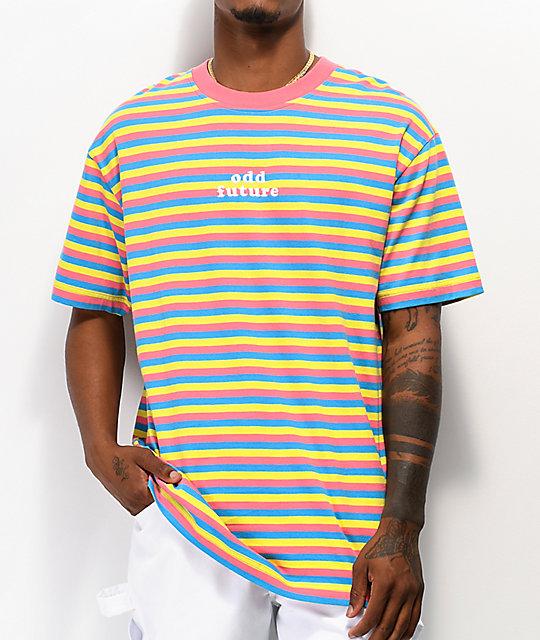 Udda framtid för rosa, blå & gul randig T-shirt |  Zumi