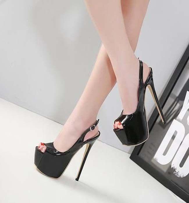 Spänne Kvinnor Mode Peep Toe Platform Högklackade skor (med.