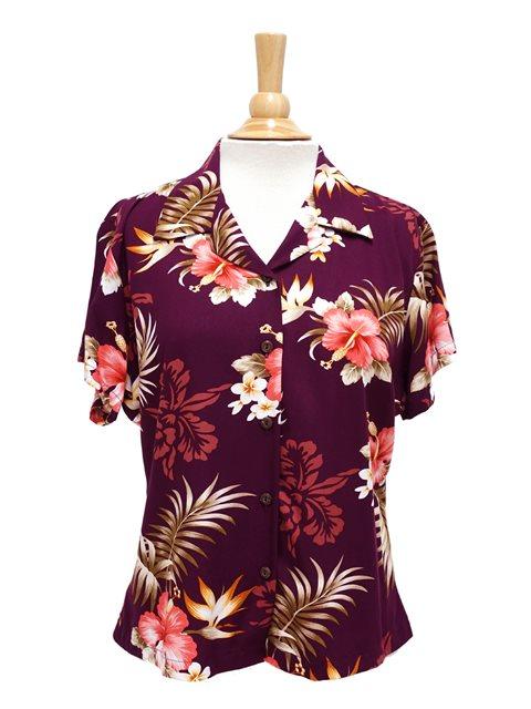 Two Palms Fern Hibiscus Purple Rayon Hawaiian Shirt för kvinnor.