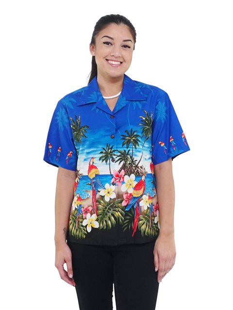 Pacific Legend Parrot Blue Cotton Hawaiian Shirt för kvinnor |  AlohaOutl