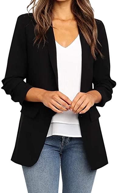 Blazers för kvinnor Lös Blazer Top Långärmad Casual Jacket.