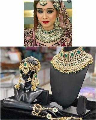 Guldpläterad Kundan Brudsmycken Halsband Set Grön Bollywood.