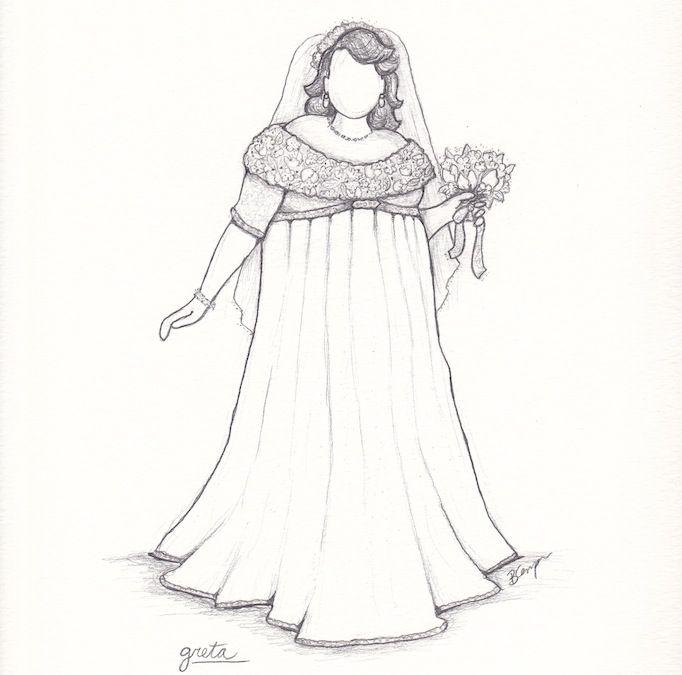 Gretas anpassade bröllopsklänning i plusstorlek av Brooks Ann Camper.
