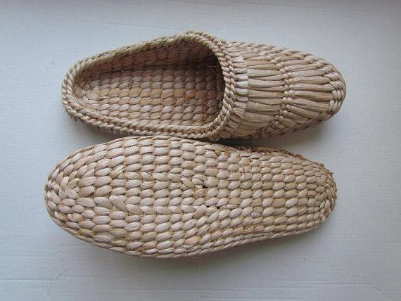 Bast sandaler Halm tofflor Bastu skor Massage tofflor Vegan.