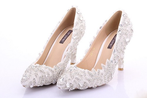 Strass bröllop skor skräddarsydda högklackade brudskor damer.