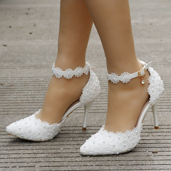 Köp vita spetsar höga klackar bröllop skor brud fest skor kvinnor.