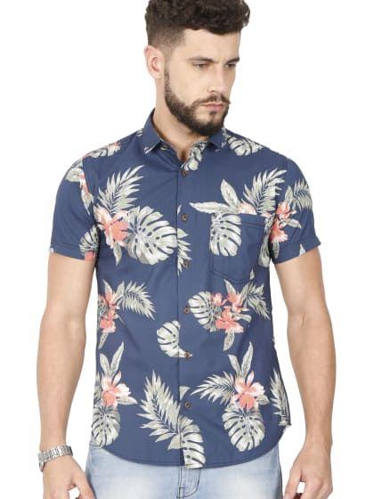 Blå halvärmad casual tryckt skjorta |  Endast på sourgrape.wooplr.