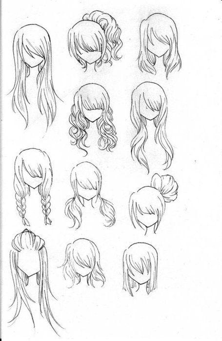 Olika hårskisser, vackra frisyridéer vackert hår.