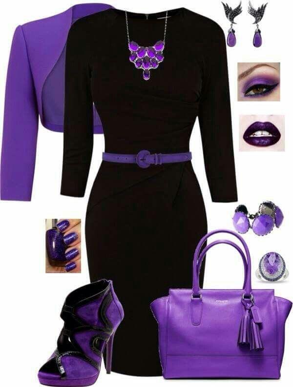 lila och svarta kläder |  Lila mode, mode, mode outfi