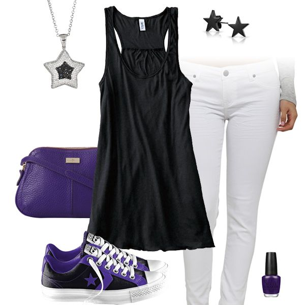 Söt svart, vit & lila outfit med Converse All Stars |  Lila .