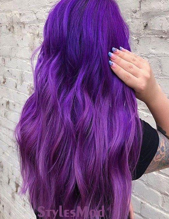 Fantastiska lila hårfärgidéer och trender att prova 2019.
