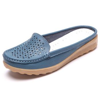 Heta försäljning Kvinnor platt mjukt läder Casual Half Dragged Ladies Boat.