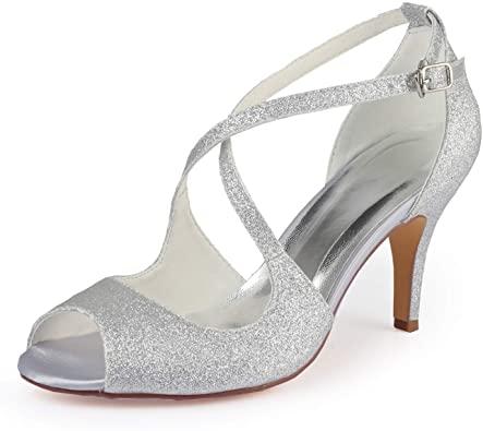 Amazon.com    Emily Bridal Wedding Shoes High Heel Pumps Cross.