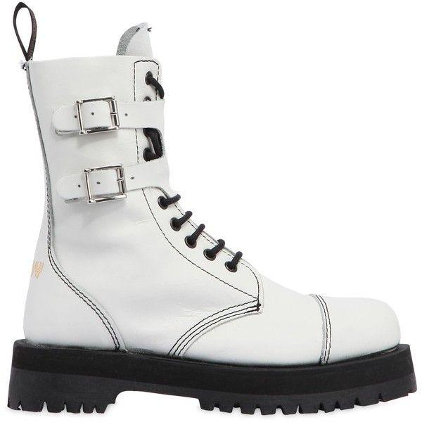 Pop Boy Women 40mm Gang Leather Biker Boots ($ 310) ❤ gillade.