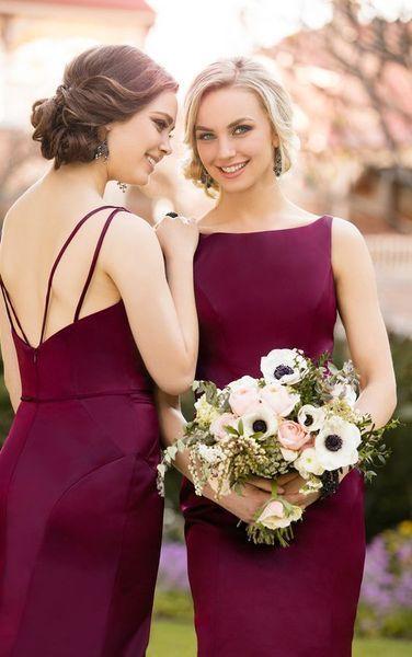 10 glamorösa burgundy bröllopsidéer |  Sjöjungfru brudtärna klänningar.