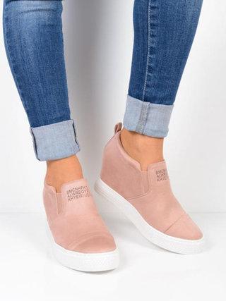 Kvinnors High Platform Slip On Loafers Casual Comfort mockaskor.