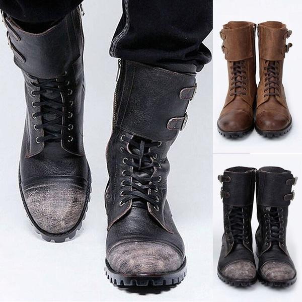 Militära vintage biker stövlar för män mode dubbel spänne läder.