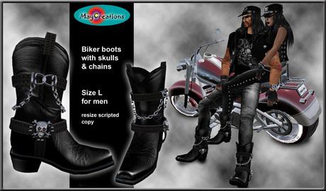 Second Life Marketplace - MayCreations biker boots skull L för m
