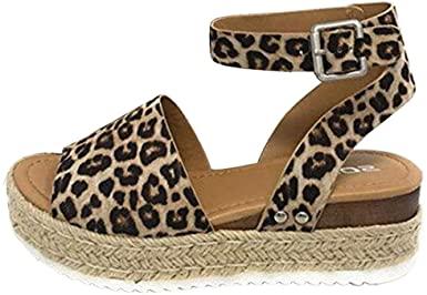 Amazon.com: Wedgesandaler för kvinnor sommar, SIN + MON Leopard för kvinnor.