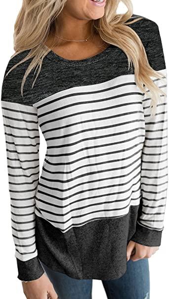 Vemvan Kvinnors långärmade T-shirt med rund hals Färgblock randig.