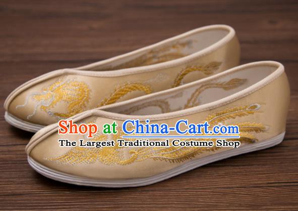 Traditionella kinesiska handgjorda Hanfu skor broderad drake.