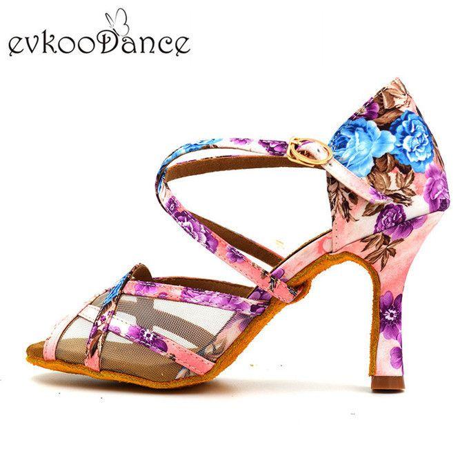 Evkoodance Latin Dancing Shoes Ladies Girl 2019 Flower Satin Shoes.