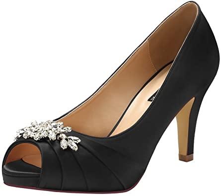 Amazon.com |  ERIJUNOR Peep Toe Mid Heels för kvinnliga strass.