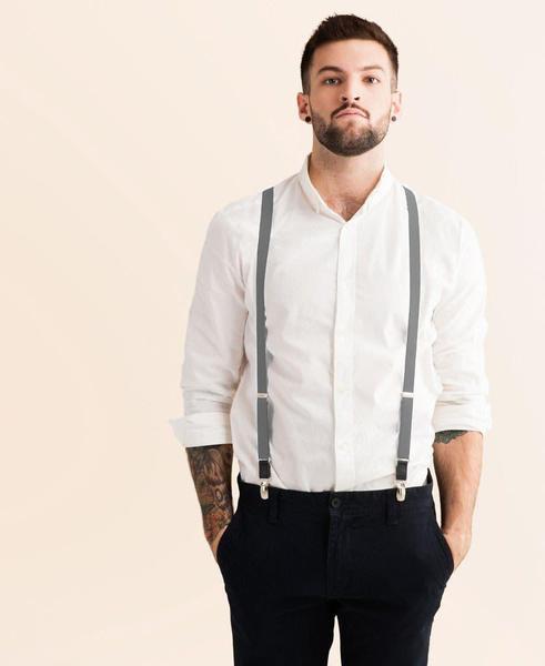 Cool Steel - Skinny Grey Suspenders - JJ Suspende
