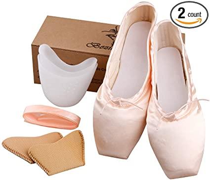 Amazon.com: KUKOME Ballet Dance Shoes Pink Satin Pointe Shoes med.