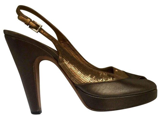 Prada Bronze peeptoes med paljetter Heels Leather, Other Golden.