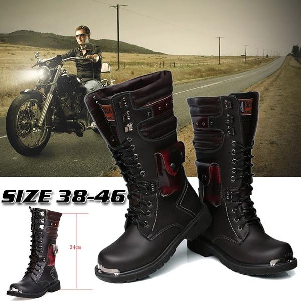 High Top Combat Stövlar Herr British Metal Militära Motorcykel Stövlar.