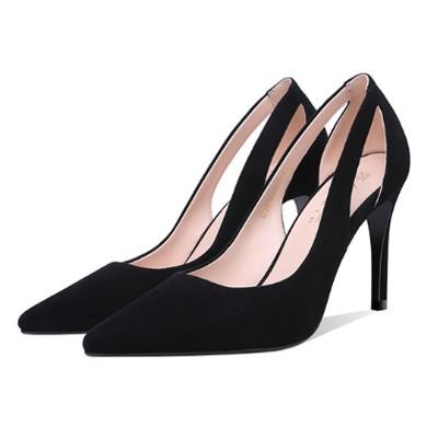 Kvinnor svarta höga klackar, klassisk spetsig tå stilett högklackad.