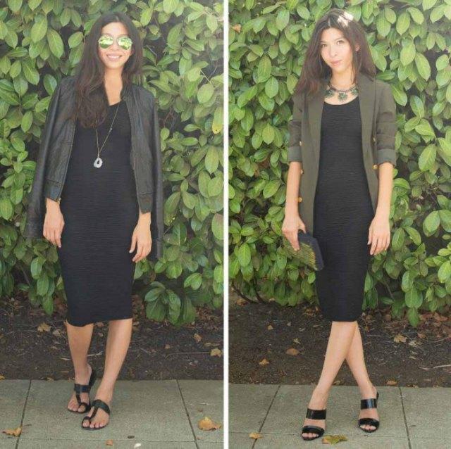 Läderjacka med midi shift-klänning och svarta sandaler