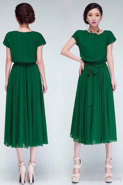 grön chiffong veckad midiklänning med midjeband