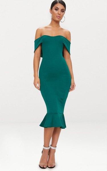 grön av axel midi sjöjungfru klänning
