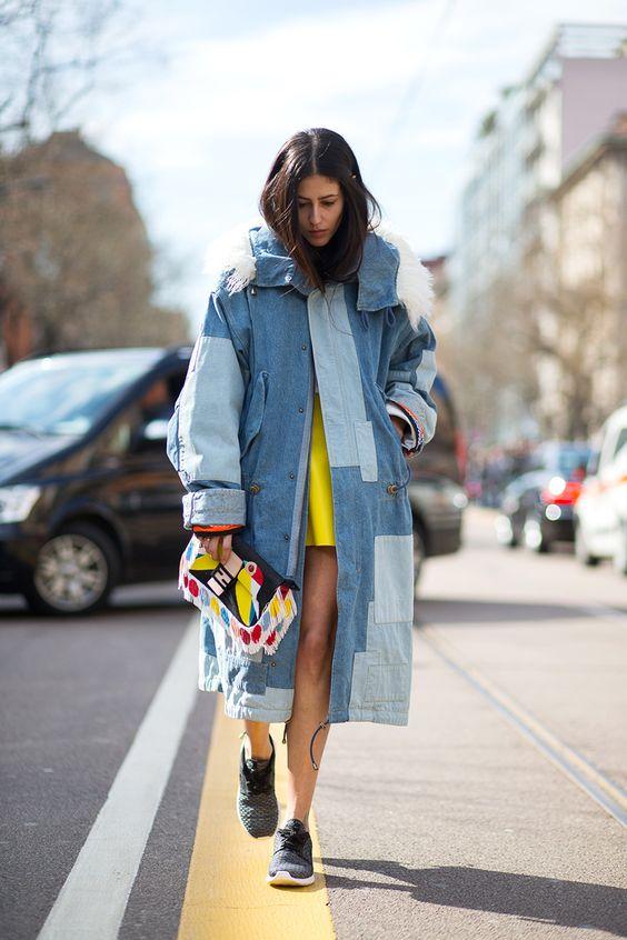 gulblå outfit gul skiftklänning