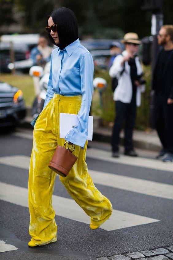 gulblå outfit gul sammet