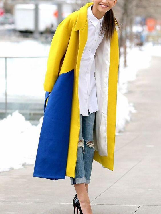 gul-blå outfit tvåfärgad päls