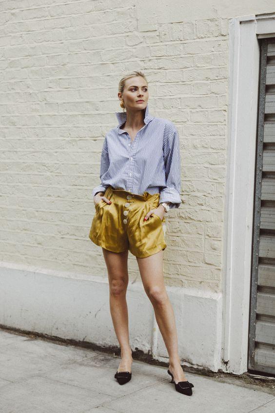 gulblå shorts