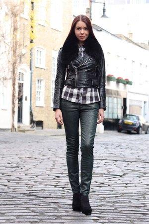 svart kort läderjacka Forest Jeans Jeans