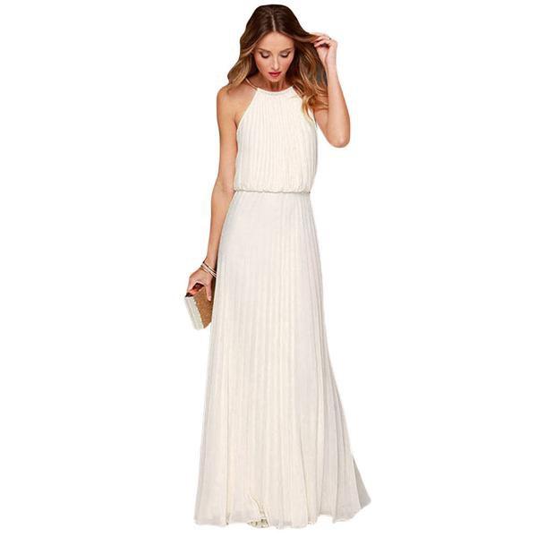 vit boho lång klänning med rynkad midja