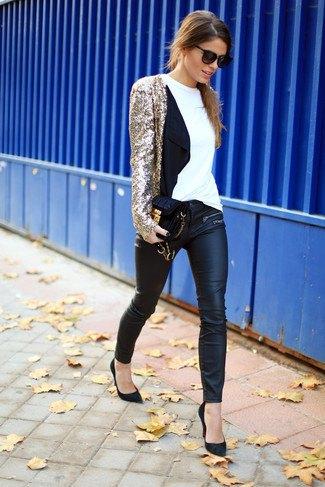 gyllene paljettjacka med damaskar i svart läder