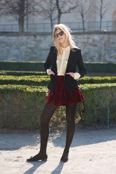röd sammet mini kjol svart kavaj