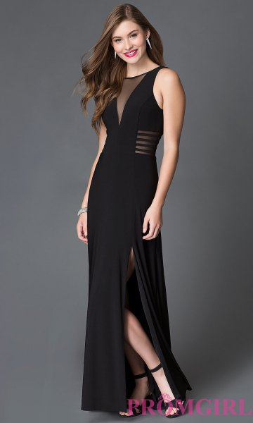 svart maxi-halvhög hög split klänning