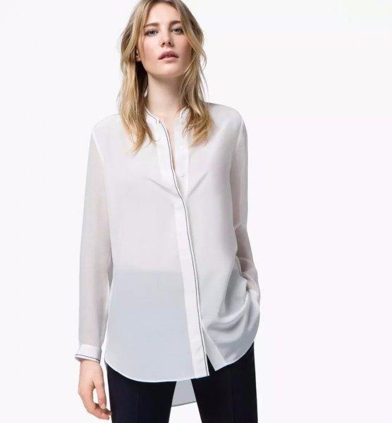 vit kragefri skjorta i halvtransparent rayon
