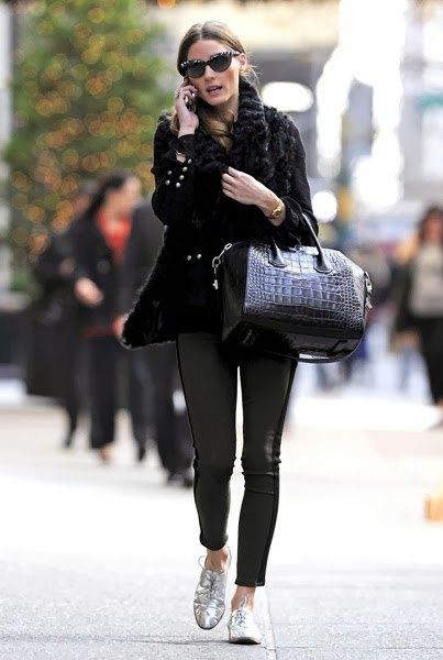 svart kabelstickad tjock tröja i läder