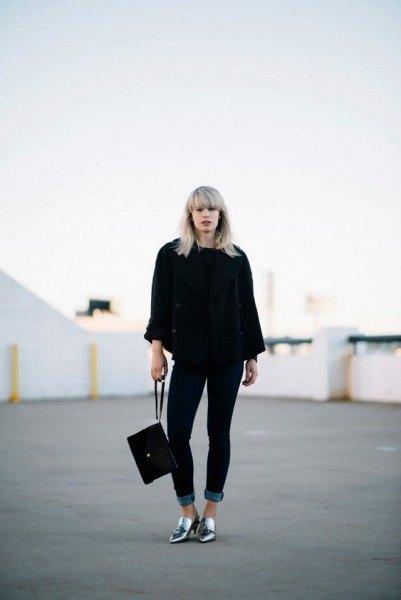 silver skor svart tjock tröja