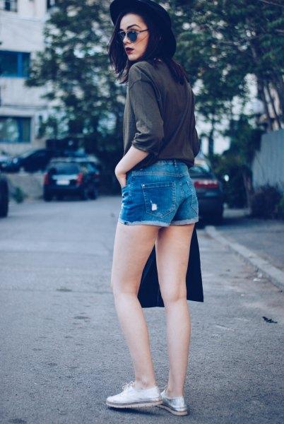 svart filthatt jeansshorts