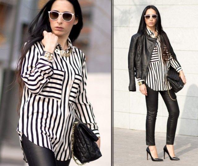 svart och vit randig blus med knappar och läderjacka